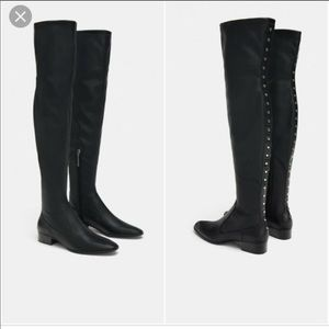 Zara Flat Stretch Over the Knee Boots With Studs 9